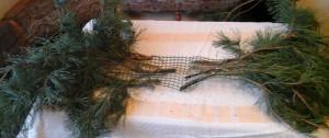 Ветки закреплены в сетке